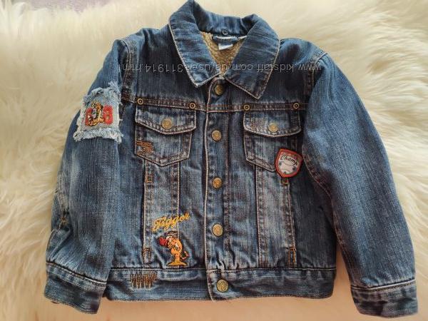 Утепленная джинсовая курточка C&A на 3 года, р. 98, в отличном состоянии