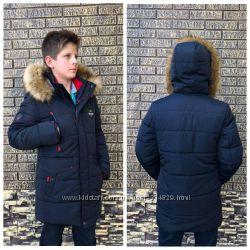 Удлиненная куртка зимняя для мальчика 134, 140, 146, 152, 158, 164