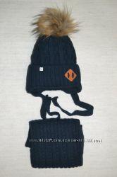 Зимний комплект для мальчика - шапка и шарф. Синий и серый. В наличии