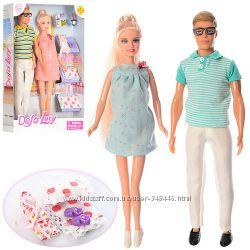 Семья Defa 8349 29см беременная и 30см, пупс, аксессуары, 2 вида. кукла тип