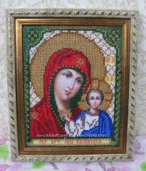 Икона Дева Мария с Иисусом вышитая бисером