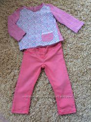 Комплект Next для девочки размер 86 на 1, 5-2, 5 года джегинсы и реглан