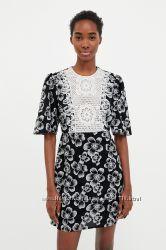 Платье ZARA с вышивкой и кружевом - L