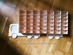 Полка гараж грузовик для хранения машинок hot wheels отличный подарок