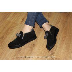 Туфли женские замшевые с бантиком черные