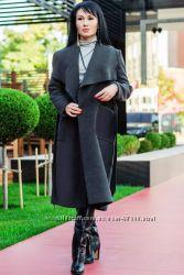 Кашемировое пальто-халат до 60 р. Барселона графит черное красное