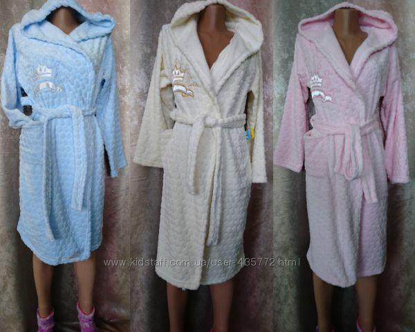 халаты подростковые и детские  махра велсофт
