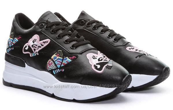 модные черные женские кроссовки с бабочками Shoes&Moda art. 215