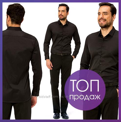 Черная мужская рубашка LC Waikiki  ЛС Вайкики на черных пуговицах с длинны