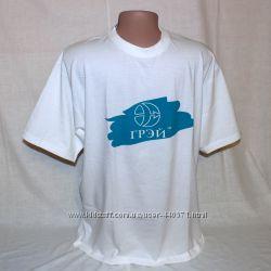 Новая белая хлопковая футболка со Щитом Марса и надписью Грэй р. L