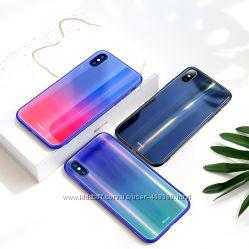 Чехол градиент Baseus Aurora Glass для Apple iPhone X 10