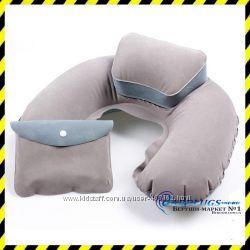 Дорожная надувная Подушка для путешествий с подголовником Silenta grey