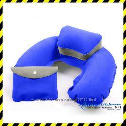 Дорожная надувная Подушка для путешествий с подголовником Silenta blue