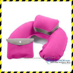 Дорожная надувная Подушка для путешествий с подголовником Silenta Pink-grey