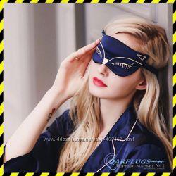 Шёлковая маска для сна Silenta Cat, dark blue, 2 подарка