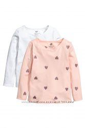 Реглани, лонгсліви  для дівчинки - H&M - organic cotton- ціна за комплект