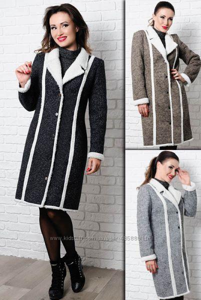 Теплое пальто Дореми на искусственной овчине