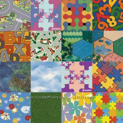 Детский линолеум с дорогами, пазлами, цветами различной ширины в наличии