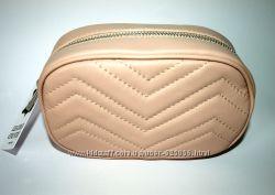 Элегантная сумочка на пояс, Италия, натуральная кожа черная, бежевая
