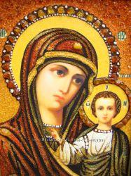 Казанская икона Пресвятой Богородицы из янтаря подарок на крестины