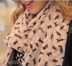 шифоновый розовый бежевый черный шарф шарфик в коты с котами котики