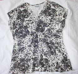 Блузка, кофточка, туника чёрно-белая стрейчевая блестящая с блёстками