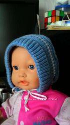 Демисезонная вязаная шапочка на 6-9 месяцев