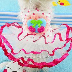 Вишенка в в безе Платье хлопок для  собак котов одежда
