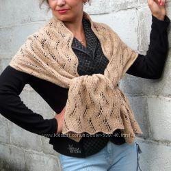 Эксклюзивный шарф из верблюжьей шерсти, бежевый, карамельный,  ручная работ