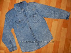 Джинсовые рубашки на парней. 4-6лет