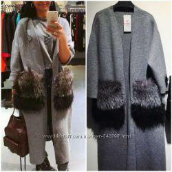 Легкое трикотажное пальто с карманами из натуральной чернобурки