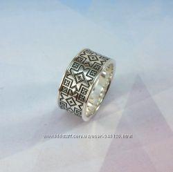 Скидка Серебряное кольцо в этностиле с орнаментом