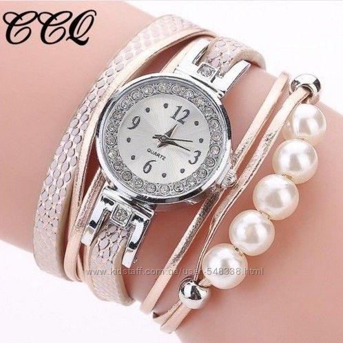 Часы браслет женские CCQ с жемчужинами
