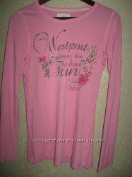 Стильная розовая футболка с длинным рукавом h&m