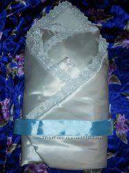 Белоснежный конверт подушка на выписку на синтепоне