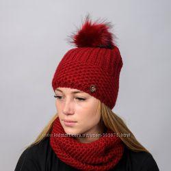 Вязанный женский комплект Lara  Женская вязанная шапка с помпоном и бафф