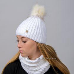 Вязанный женский комплект Liza шапка и хомут