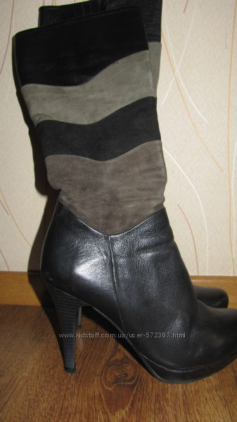 Высокие кожаные деми сапоги Goover