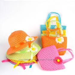 Летний комплект из соломы для девочки