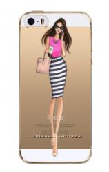 Чехол силиконовый прозрачный с модницей для iphone 4 4S 5 5S 6 6S