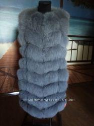 Новая натуральная меховая жилетка песец соты 90 см
