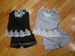 атласный комплект майка и шорты S M L XL  разные цвета в наличии Турция