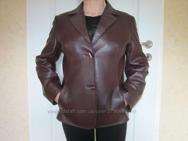 женский пиджак натуральная кожа 46-48р. в хорошем состоянии цвет баклажан