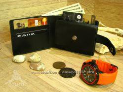 Кожаный кошелек ручной работы с отделением для мелочи
