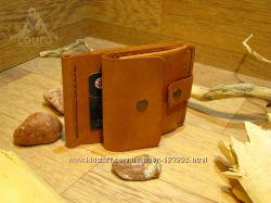 Кожаный зажим для денег с отделом для монет