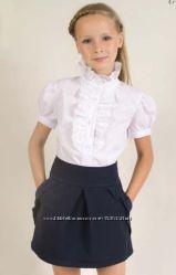 блуза жабо Albero с коротким рукавом фонариком