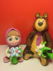 маша и и медведь из мастики украшение на торт
