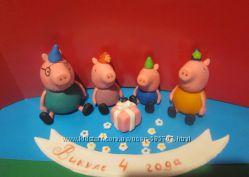 свинка пеппа и Джордж Фигурки из мастики съедобное украшение на торт
