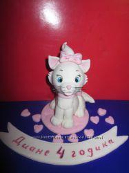 Кошечка мари сахарные фигурки из мастики украшение на торт