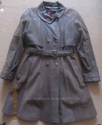 Кожаное пальто с зимней подстёжкой р. 42-44
